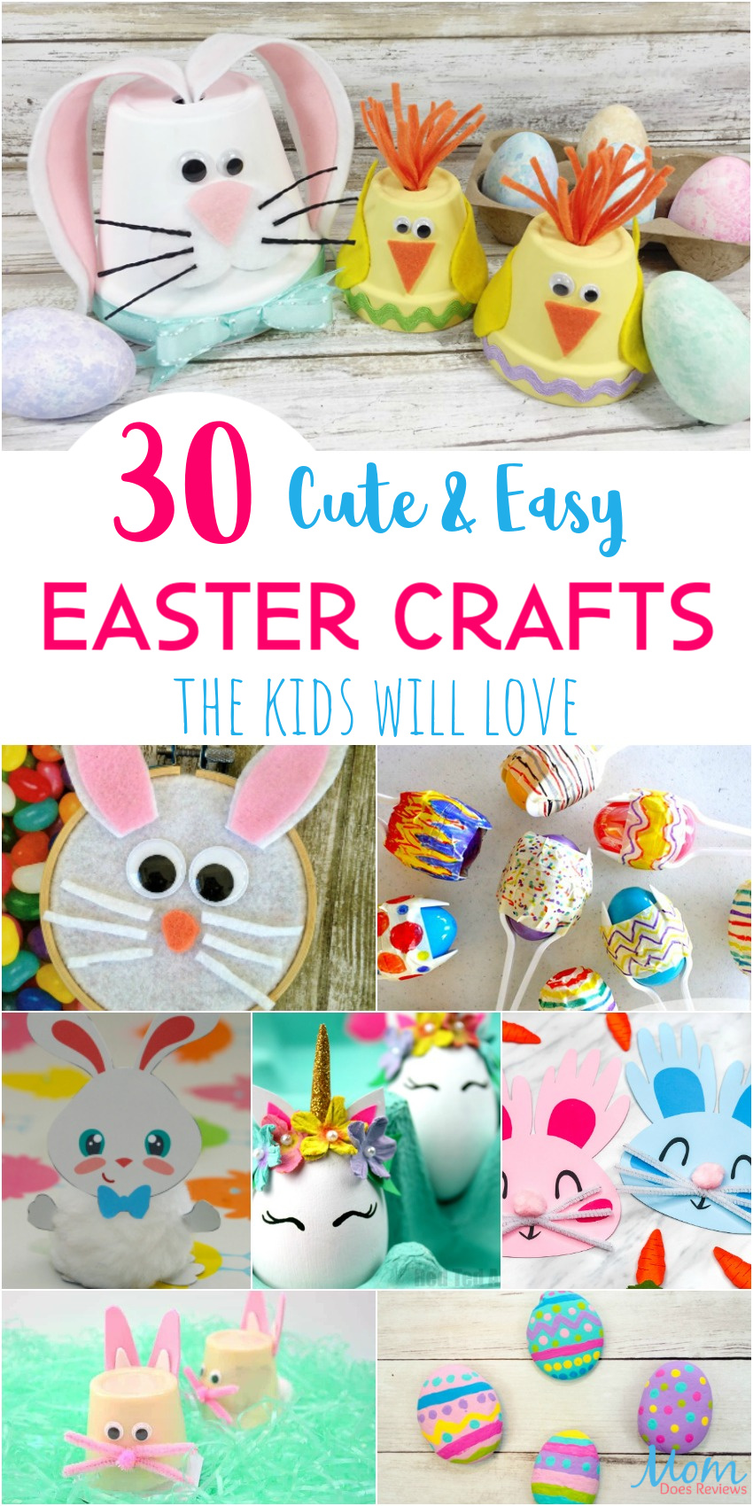 30 Cute & Easy Easter Crafts the Kids will Love #crafts #Easter #funStuff #boredombuster
