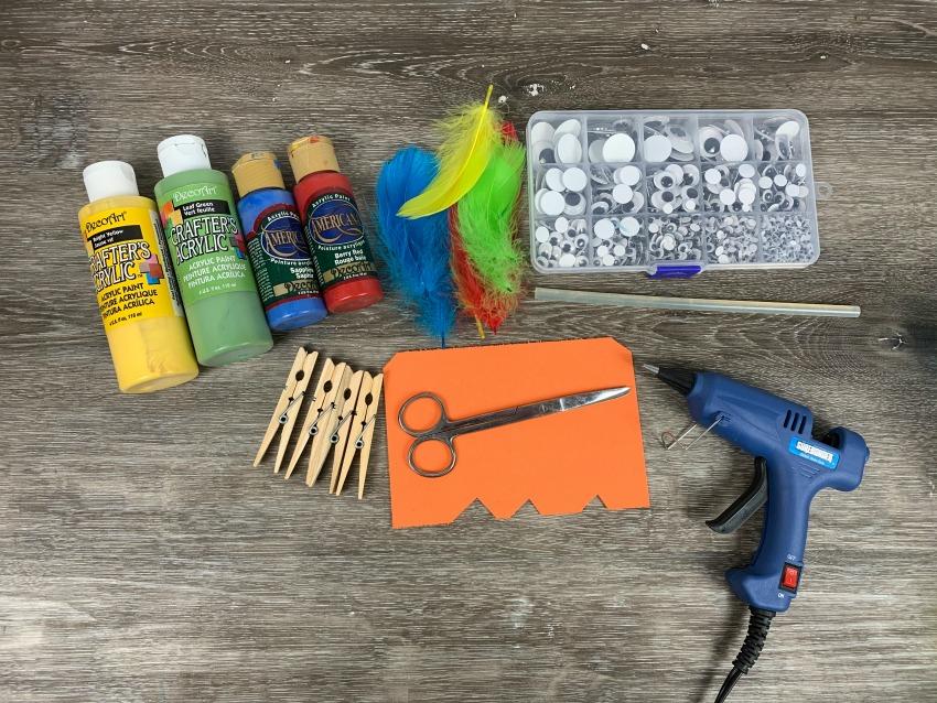 Bird Buddies Clothespin Craft supplies needed