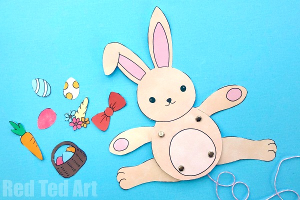Easter Bunny Paper Puppet - Simple STEAM Activity for Easter