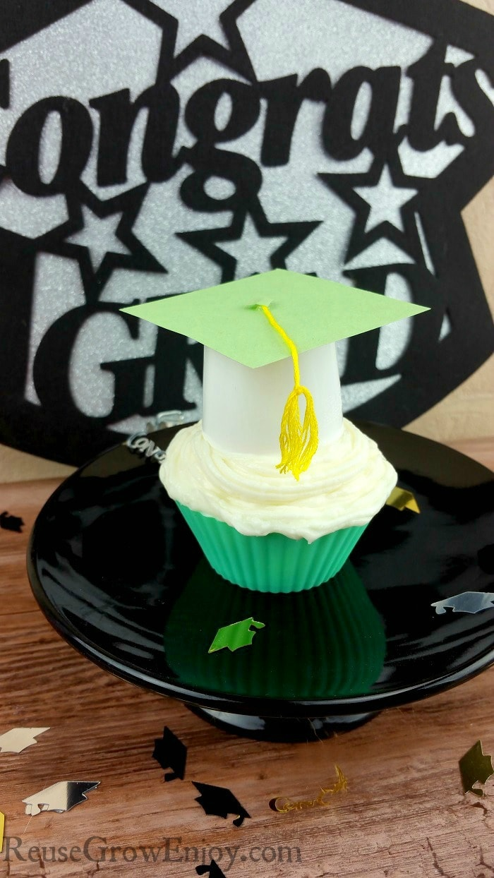 Easy DIY Graduation Cupcake Toppers Made From Upcycled K-cups!