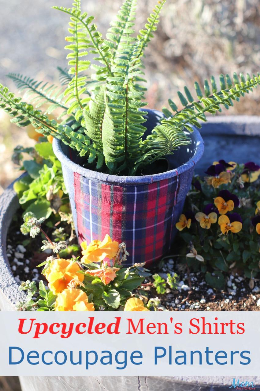 Upcycled Mens Shirts Decoupage Planters #Craft #DIY #gardening