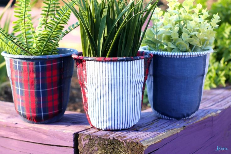 Upcycled Men's Shirts Decoupage Planters Craft