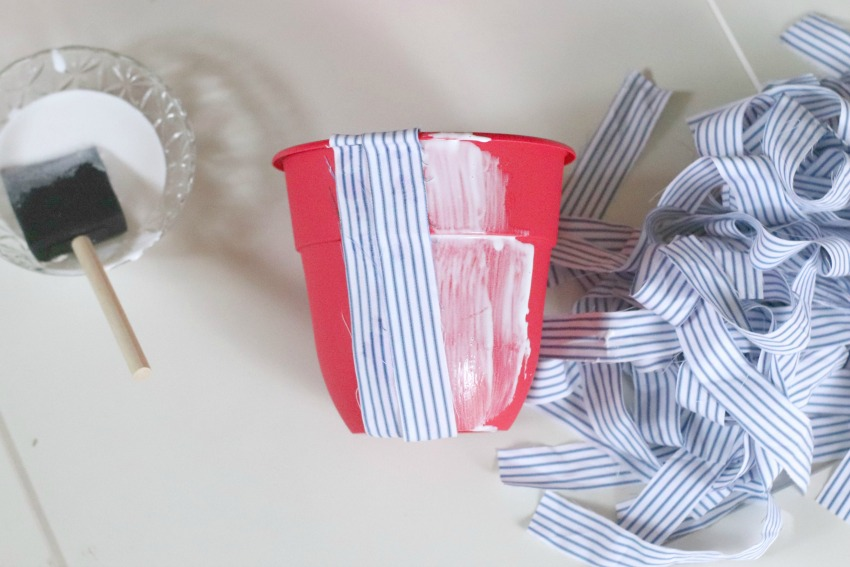 Upcycled Men_s Shirts Decoupage Planters process