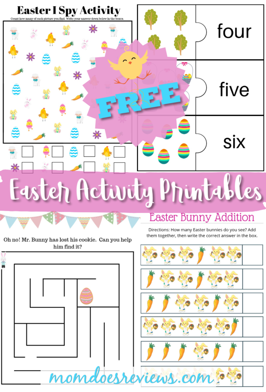 FREE Printables! Easter Activity Pages for your Kids! #Easter #printables #boredombuster