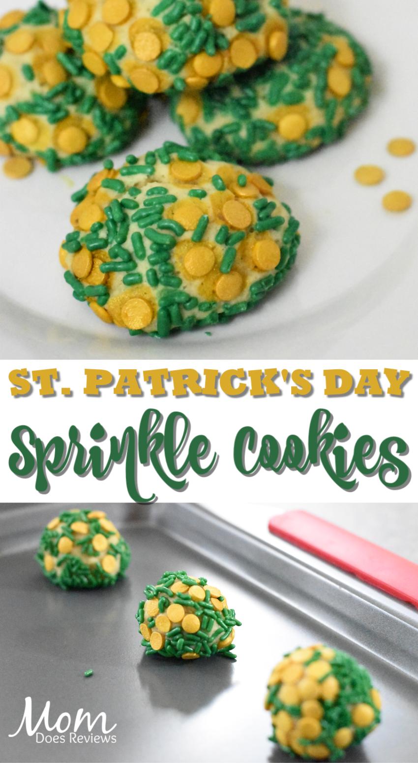 St. Patrick's Day Sprinkle Cookies #recipe #stpatricksday #cookies
