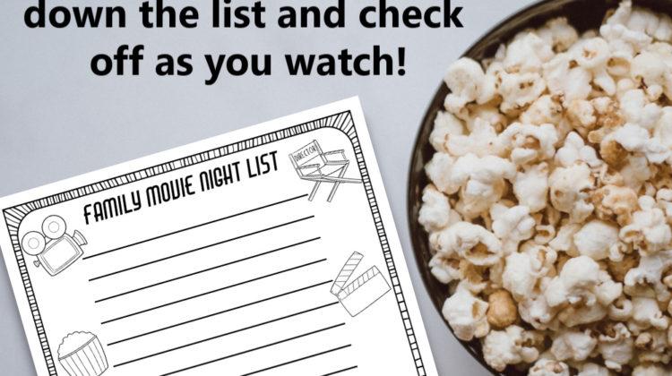 Family Movie Night List- Free #Printable!