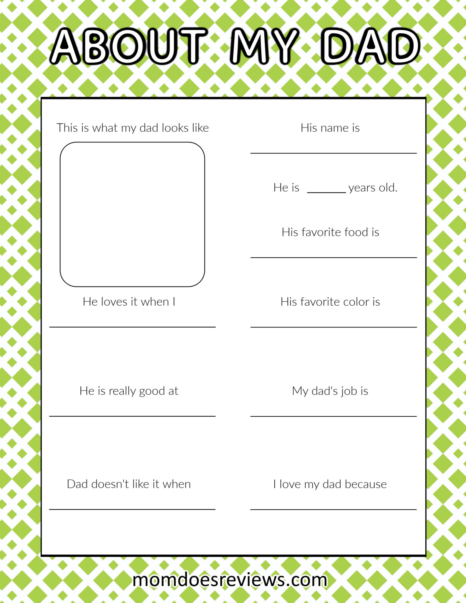 About My Dad- Fun Father's Day Printable #superdadgifts #happyfathersday #printable