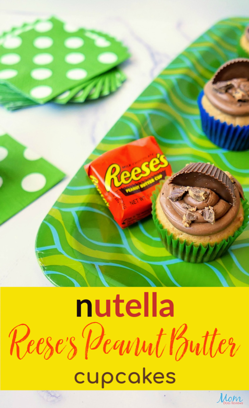 Nutella Reese's Peanut Butter Cupcakes #Recipe #cupcakes #peanutbutter #sweets