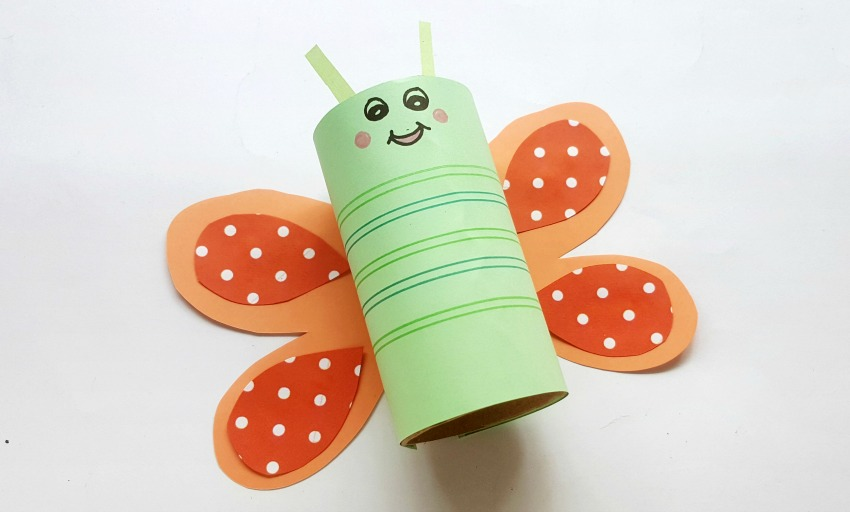 Toilet Paper Roll Butterfly Craft process