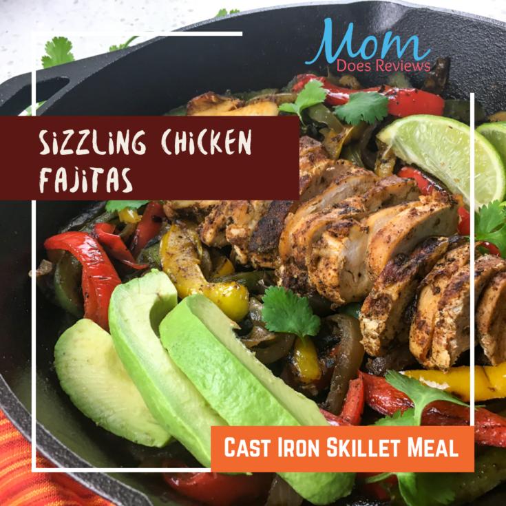 Sizzling Chicken Fajitas- Fun Cast Iron Skillet Meal #recipe #fajitas #easyskilletmeal