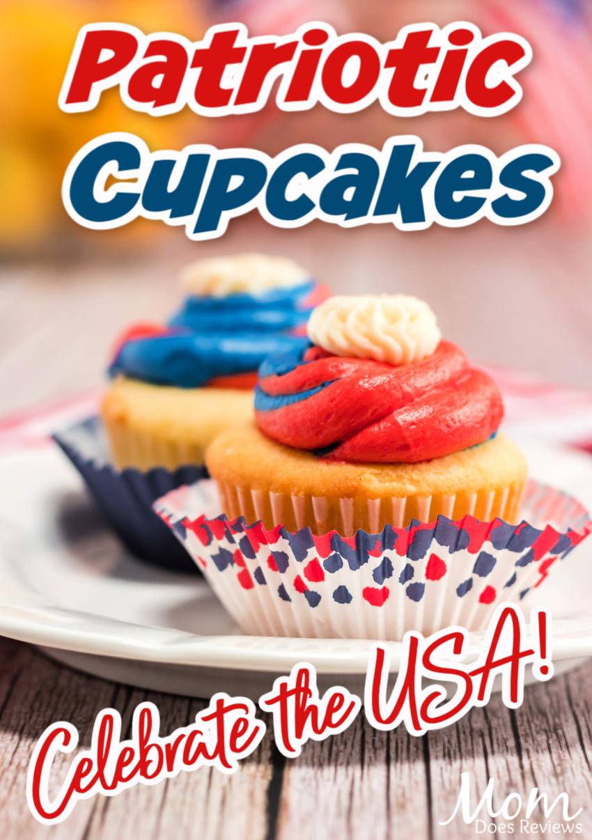 Patriotic Cupcakes- Celebrate with Red, White and Blue #cupcakes #redwhiteblue #usa