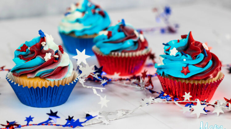Red, White and Blue Festive Cupcakes