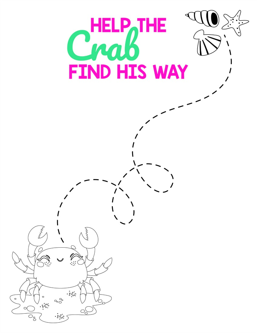 Beach Activities - Help the Crab find his way #freeprintables #activitypages #boredombuster #summerfun
