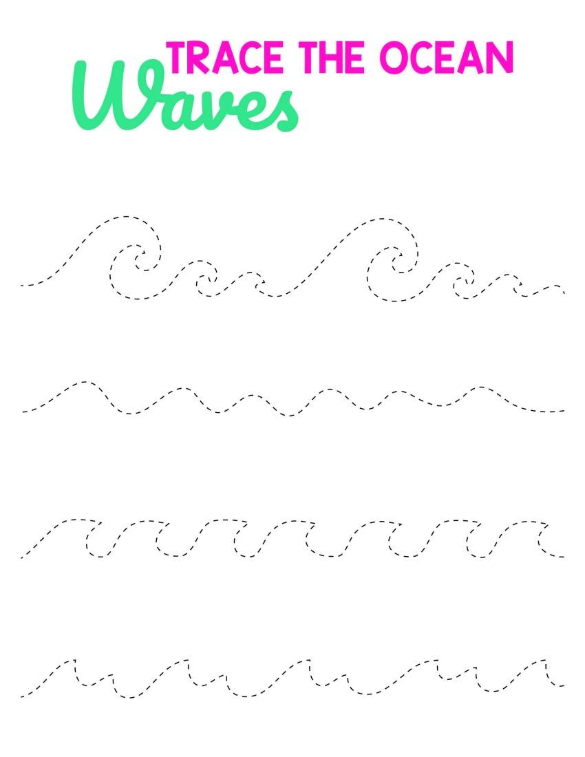 Beach Activities - Trace the Ocean Waves #freeprintables #activitypages #boredombuster #summerfun