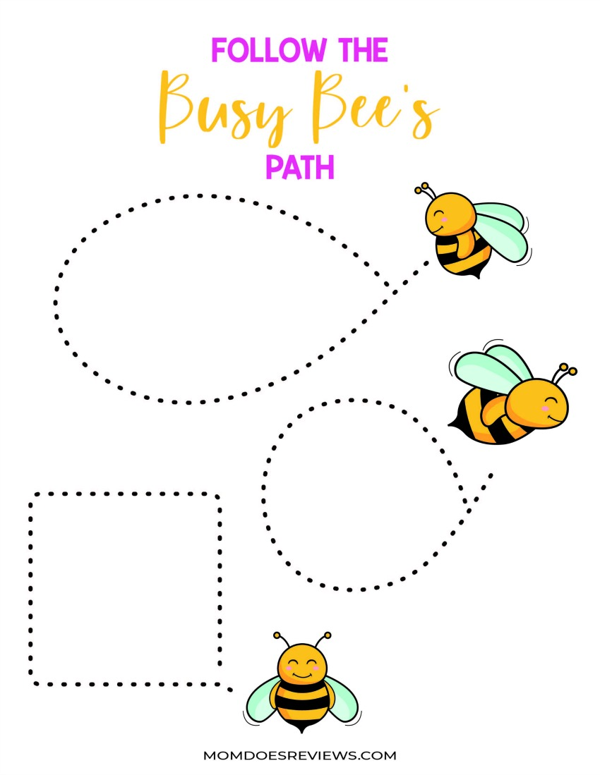 Busy Busy Activity Pack - Stay at Home Activities - Follow the Busy Bee's Path