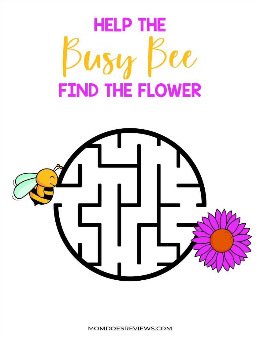 Busy Busy Activity Pack - Stay at Home Activities - Help the Busy Bee Find the Flower #togetherathome #funstuff #freeprintables