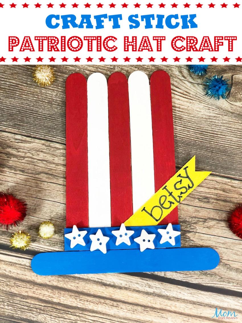 Make Your Own Craft Stick Patriotic Hat - #DollarStoreCraft #craft #4thofjuly