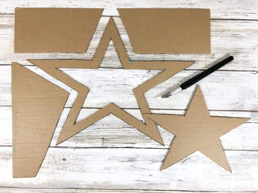 Dollar Store Puzzle Piece Patriotic Star Wreath