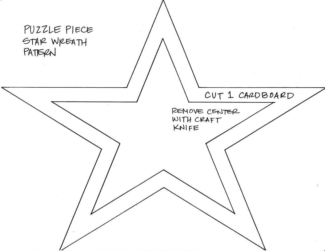 Puzzle Piece Star wreath pattern