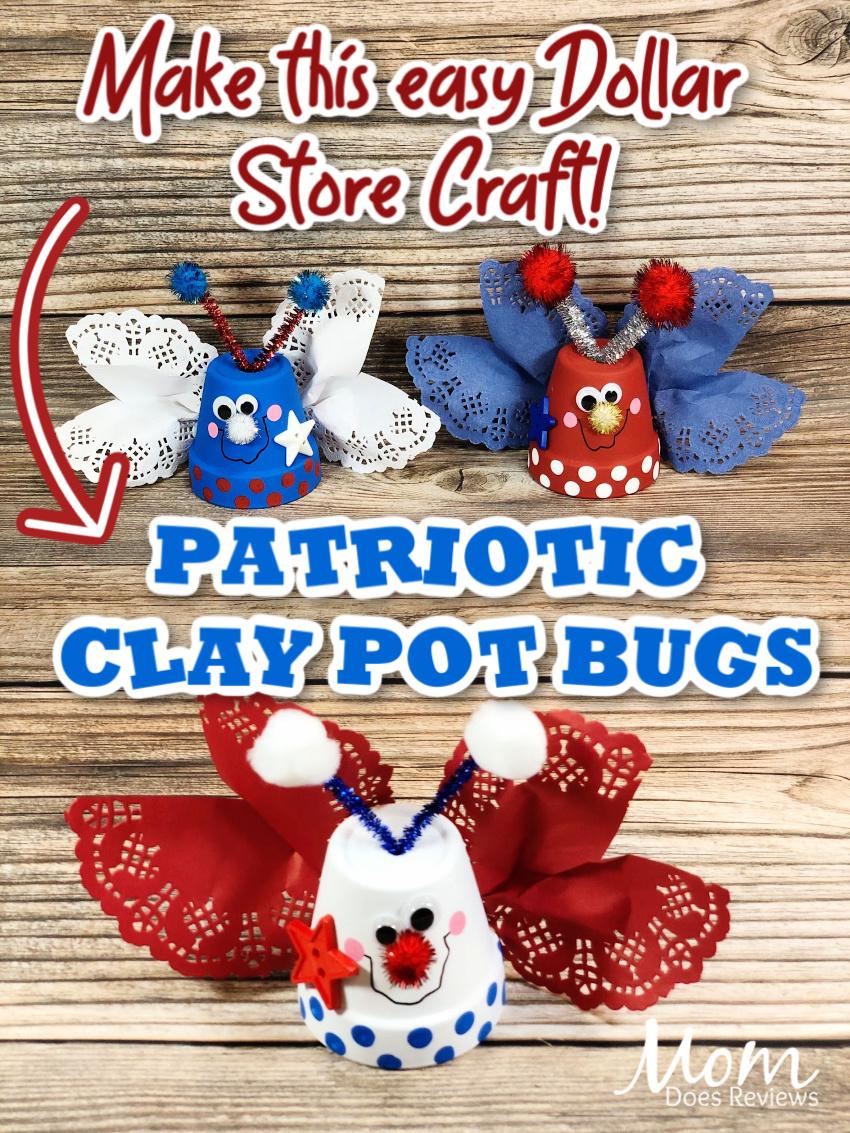 Fun Patriotic Clay Pot Bugs- Simple Dollar Store #craft #4thofjuly #diy