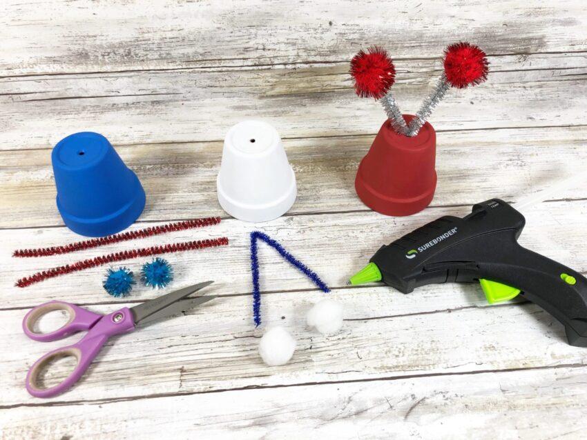 Fun Patriotic Clay Pot Bugs- an Easy Dollar Store Craft