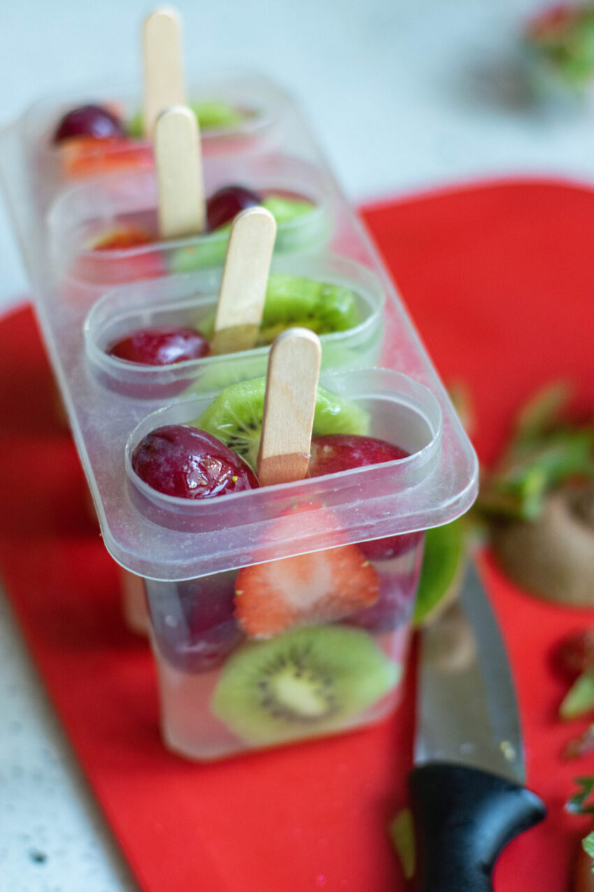 Fresh Fruit Popsicles- made with Coconut Water