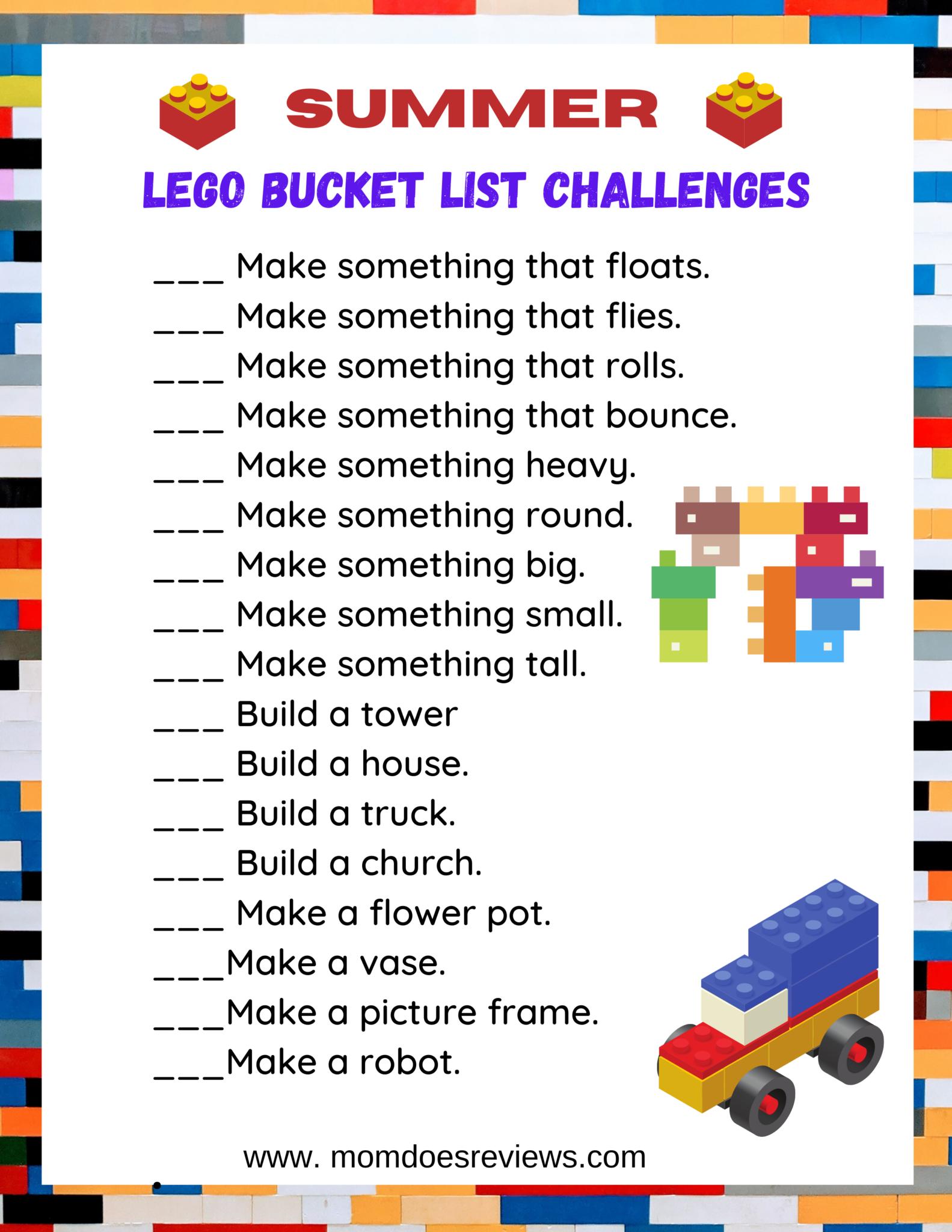 Summer LEGO Bucket List Challenge #Summerfun #printable #LEGOS