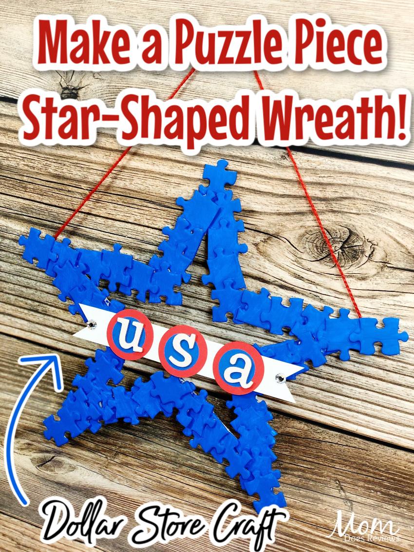 Puzzle Piece Star Wreath #craft #dollarstorecraft #diy