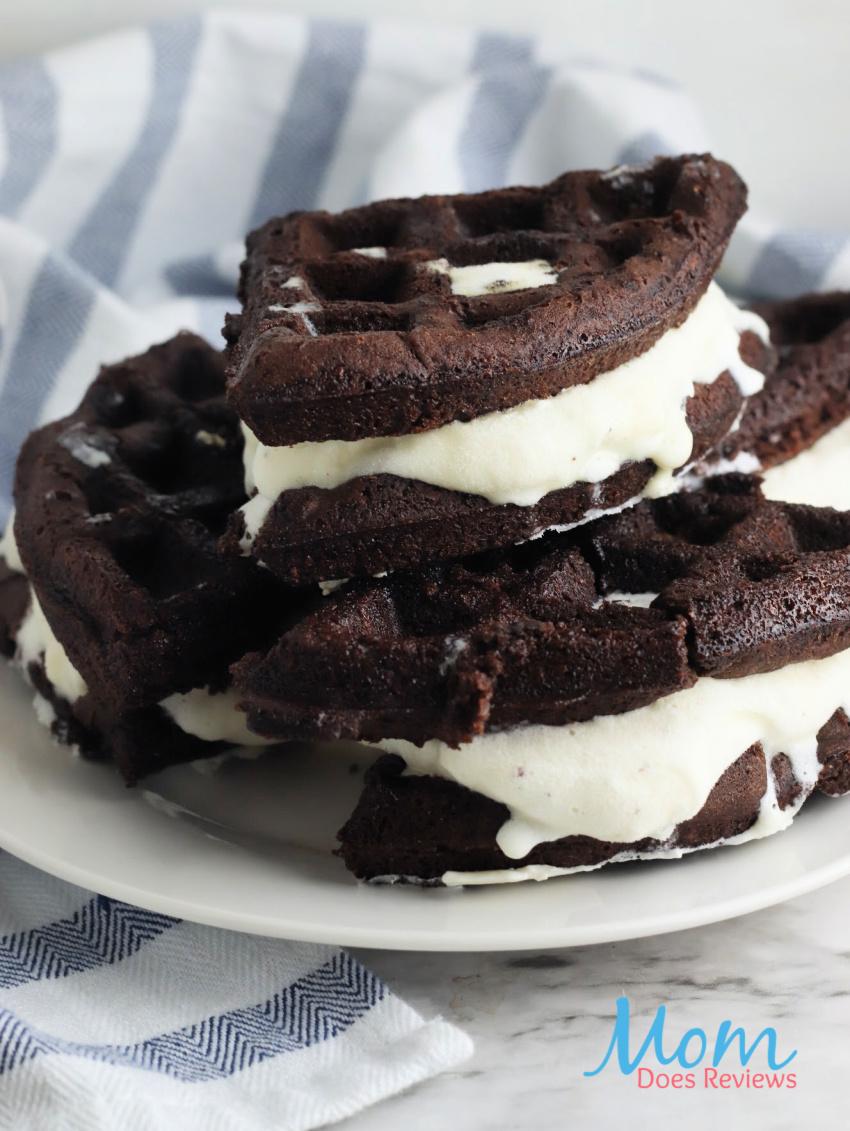 Brownie Waffle Ice Cream Sandwiches #recipe #dessert #icecream