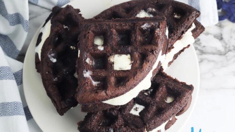 Brownie Waffle Ice Cream Sandwiches