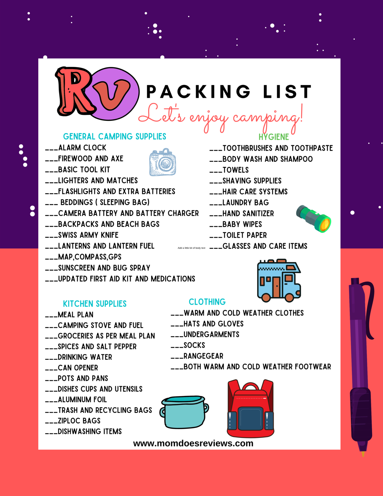 Printable RV & Camping Packing List!