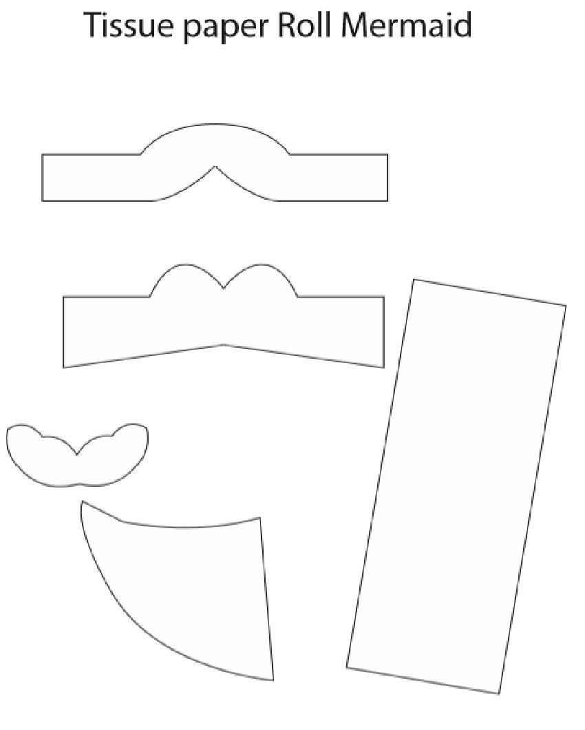 Toilet Paper Roll Mermaid Craft template