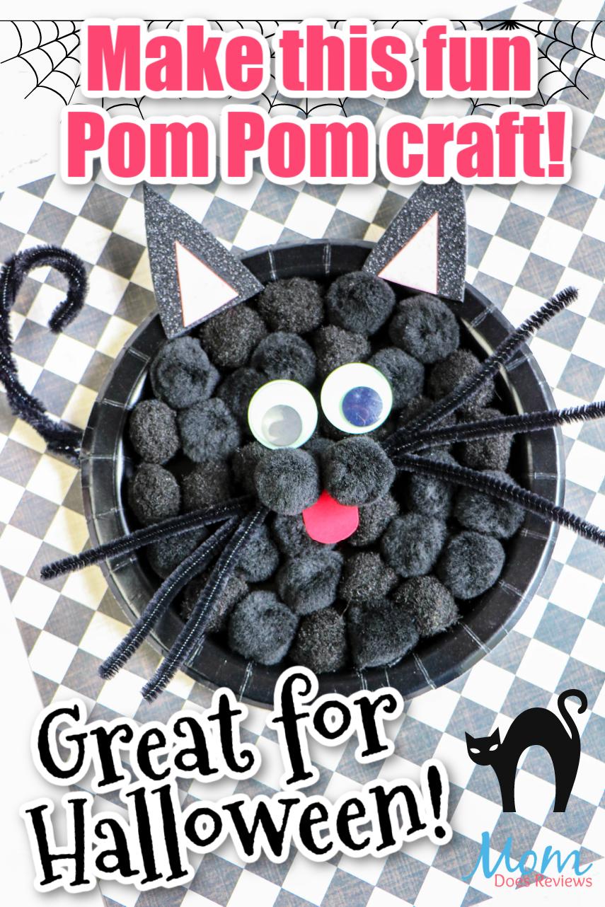 Black Cat Pom Pom Paper Plate Craft #hallloween #funstuff #diy