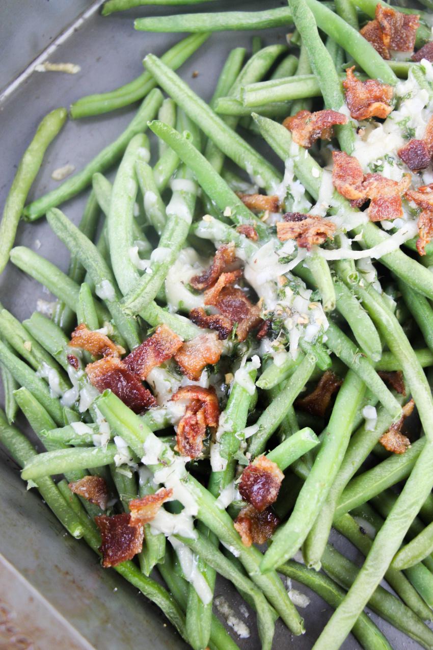 Bacon Parmesan Green Beans process