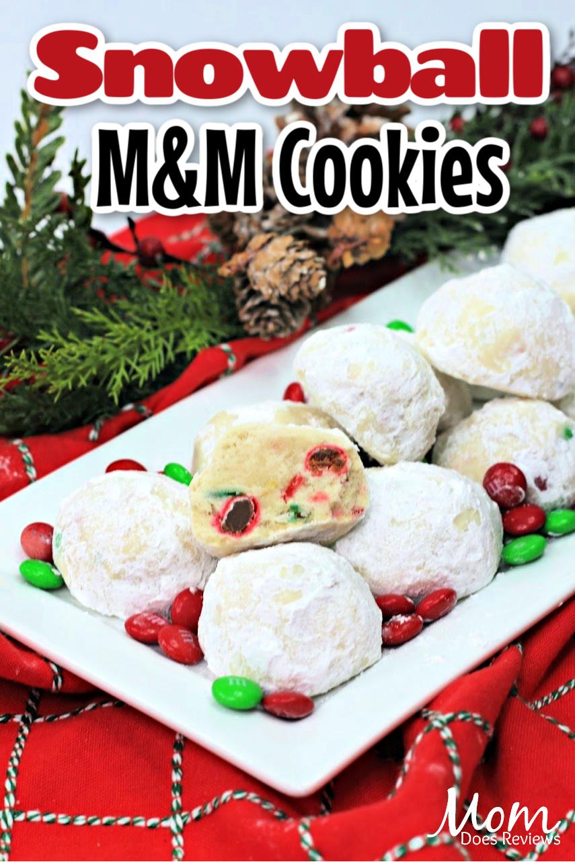 Christmas Snowball M&M Cookies #Recipe #desserts #christmaspartyfood