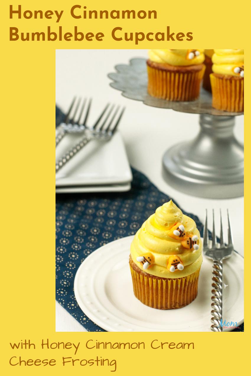 Honey Cinnamon Bumblebee Cupcakes with Honey Cinnamon Cream Cheese Frosting #Recipe #cupcakedecorating #honeycinnamon