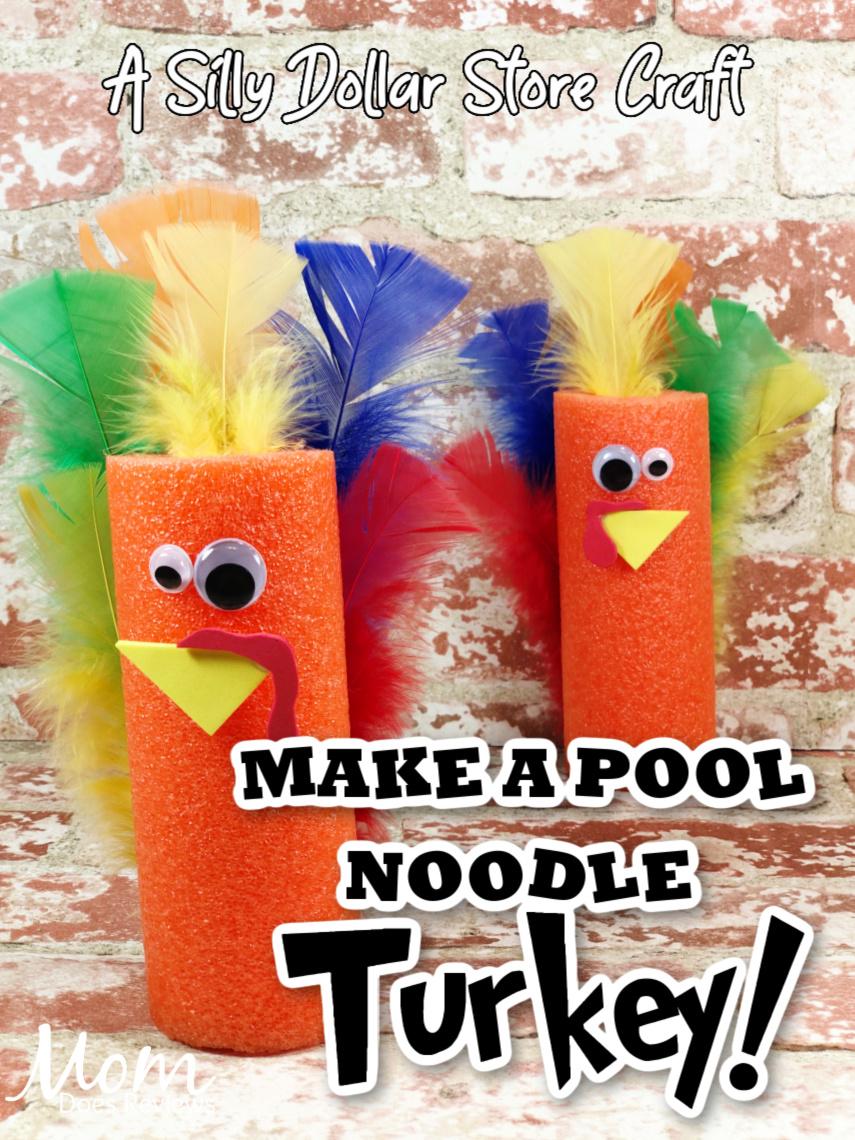Pool Noodle Turkey Craft- another Dollar Store #Craft #thanksgiving #dollarstorecraft