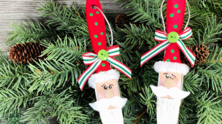 DIY Paintbrush Santa Ornament