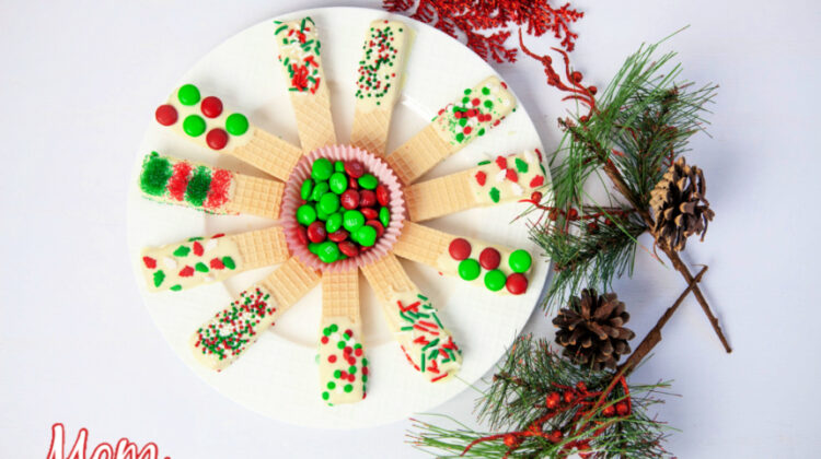 White Chocolate Dipped Christmas Sugar Wafers