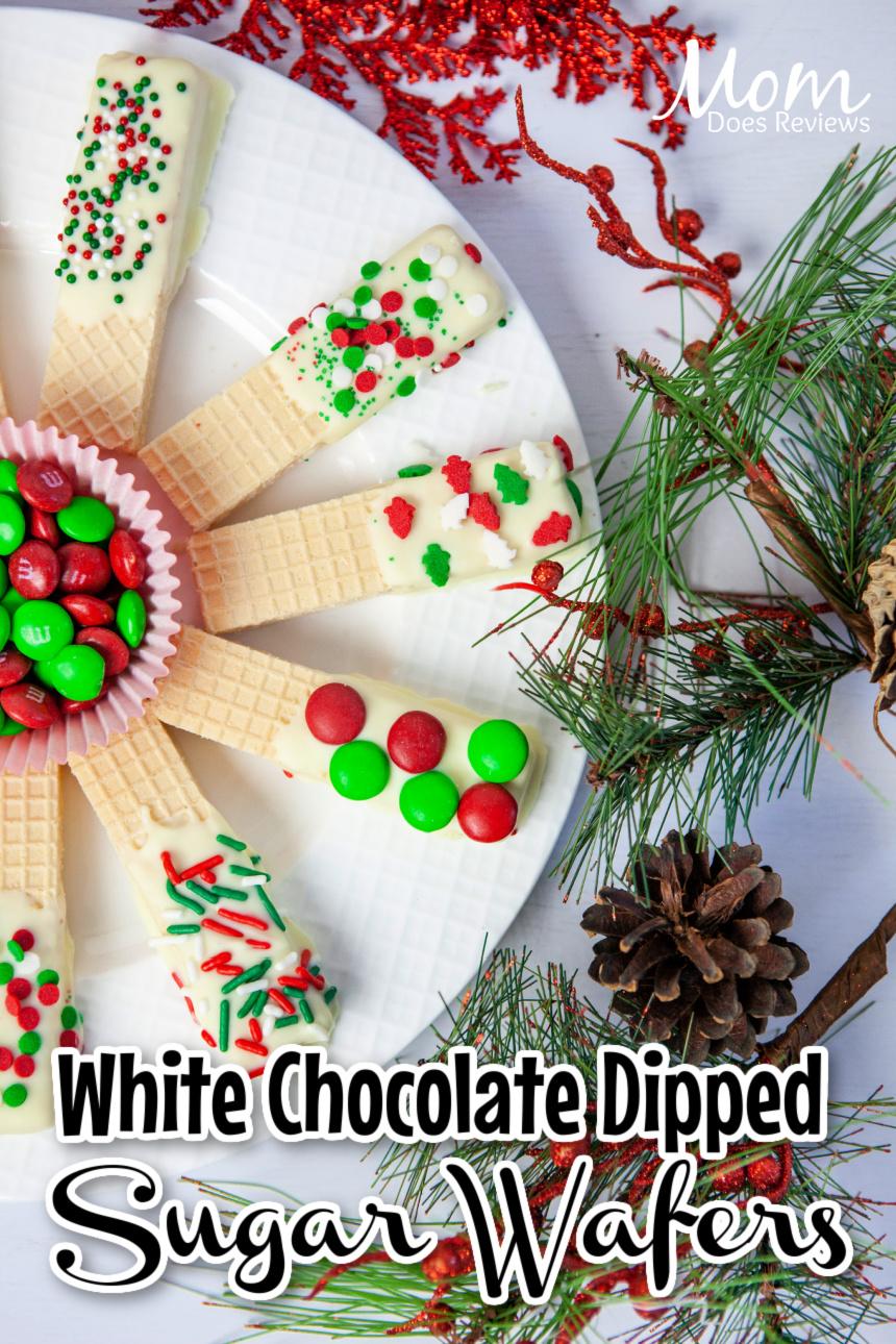 White Chocolate Dipped Christmas Sugar Wafers