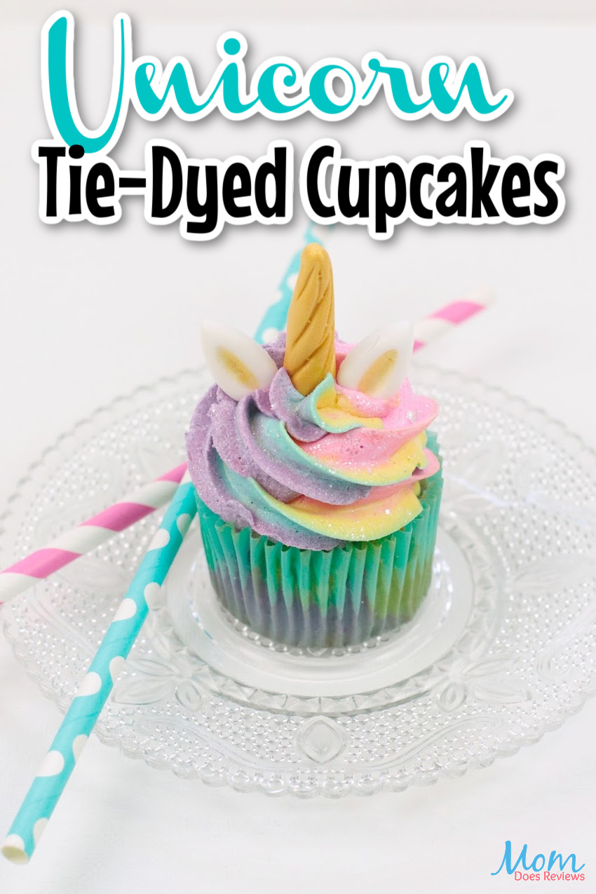 Tie-Dyed Unicorn Cupcakes with Buttercream frosting