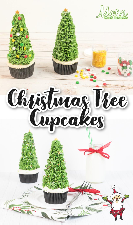 Beautiful Christmas Tree Cone Cupcakes #Recipe #Christmascupcakes #funfood