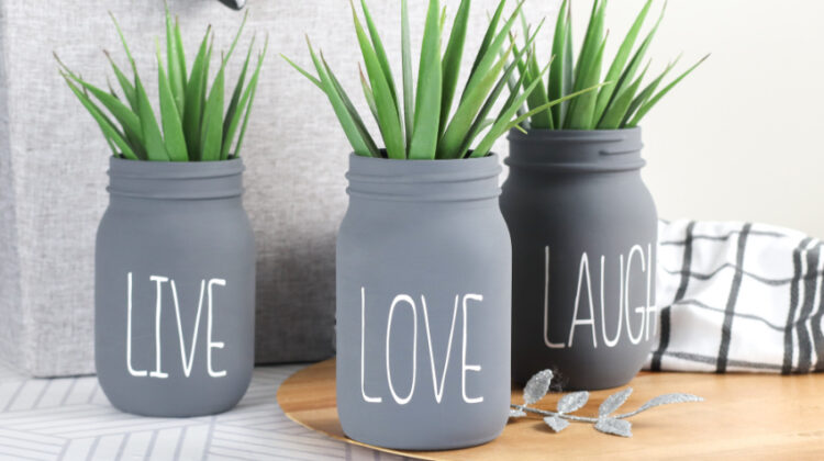 Beautiful DIY Cricut Chalk Painted Jars