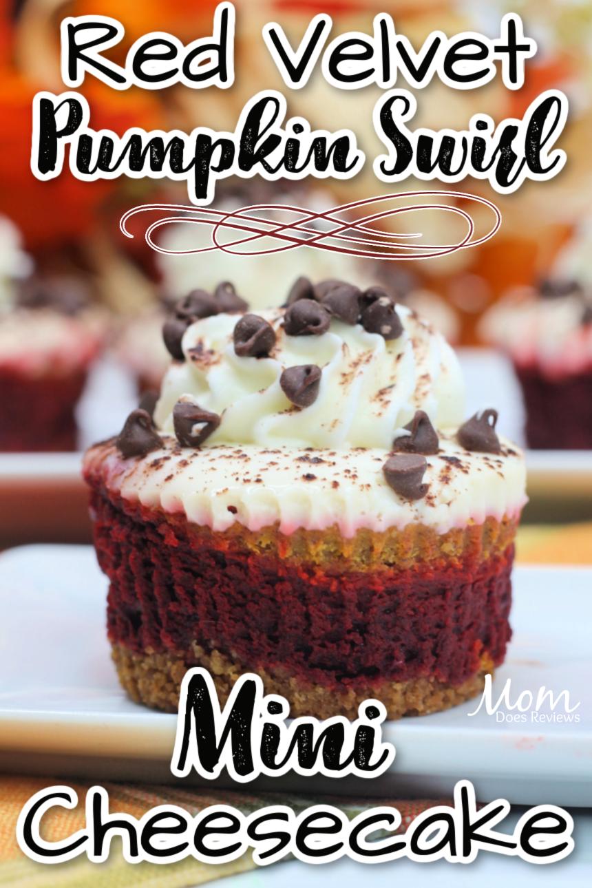 Red Velvet Pumpkin Swirl Mini Cheesecakes
