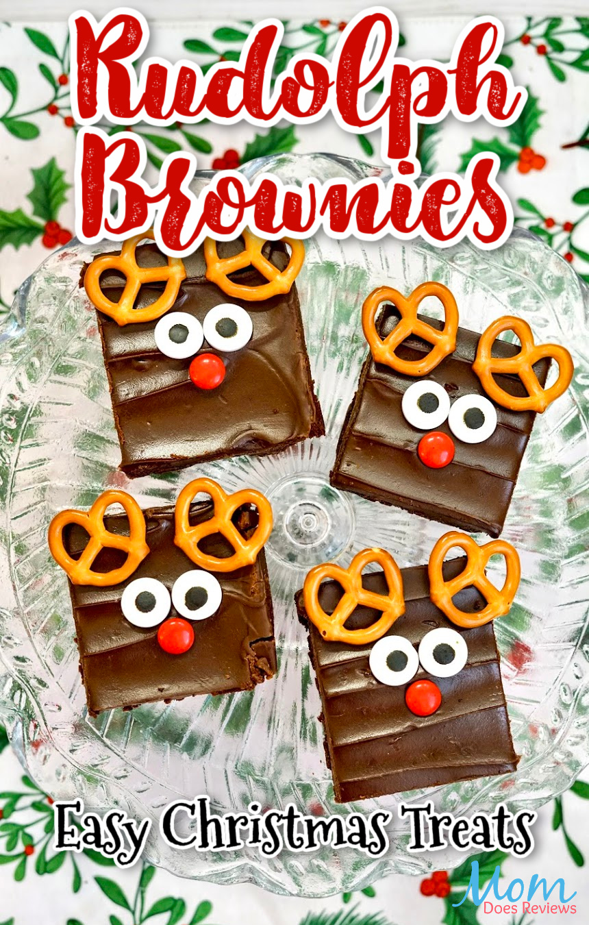 Cute and Easy Rudolph Brownie Treats #christmas #nobake #sweets