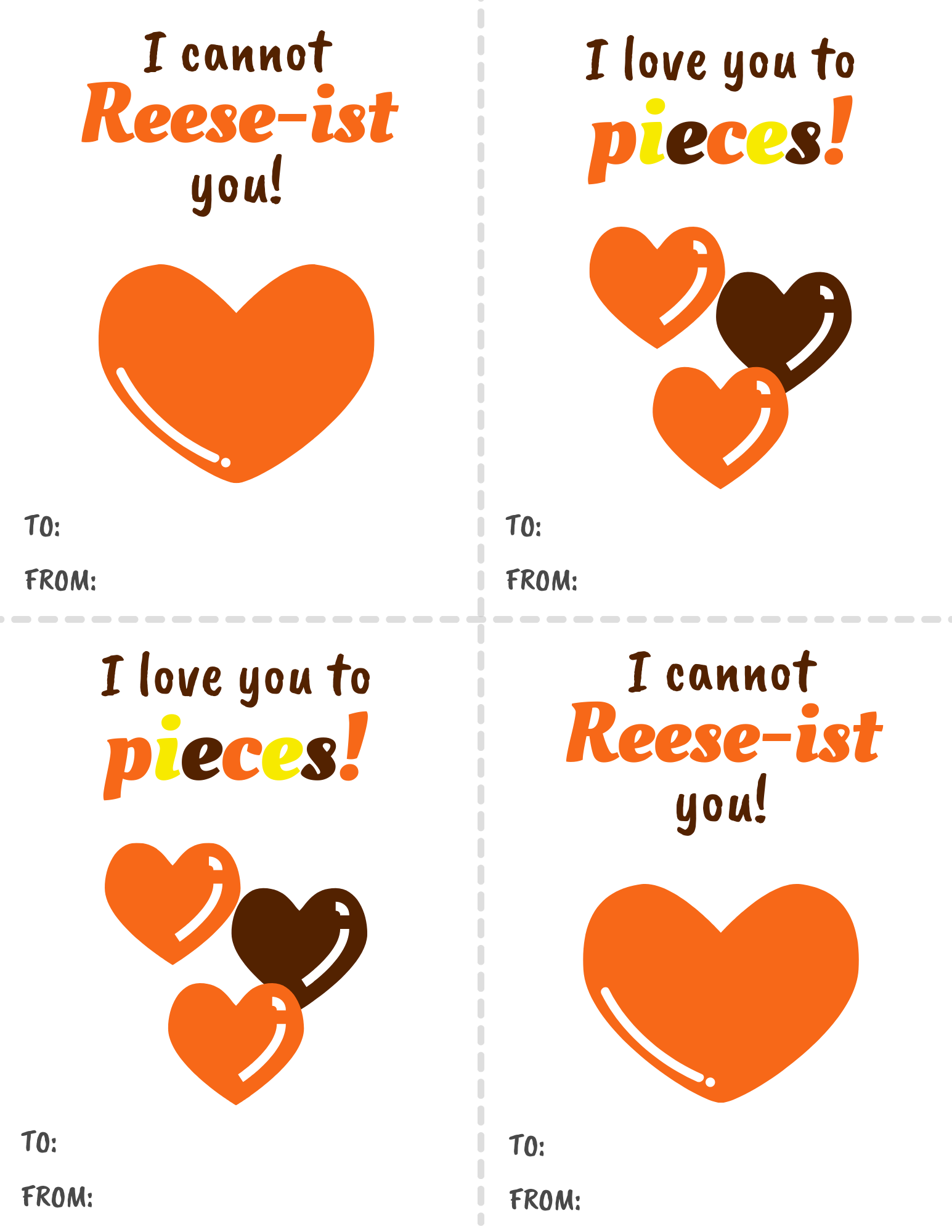 """I Love You to Pieces"" Valentine's Cards- Free #Printable"