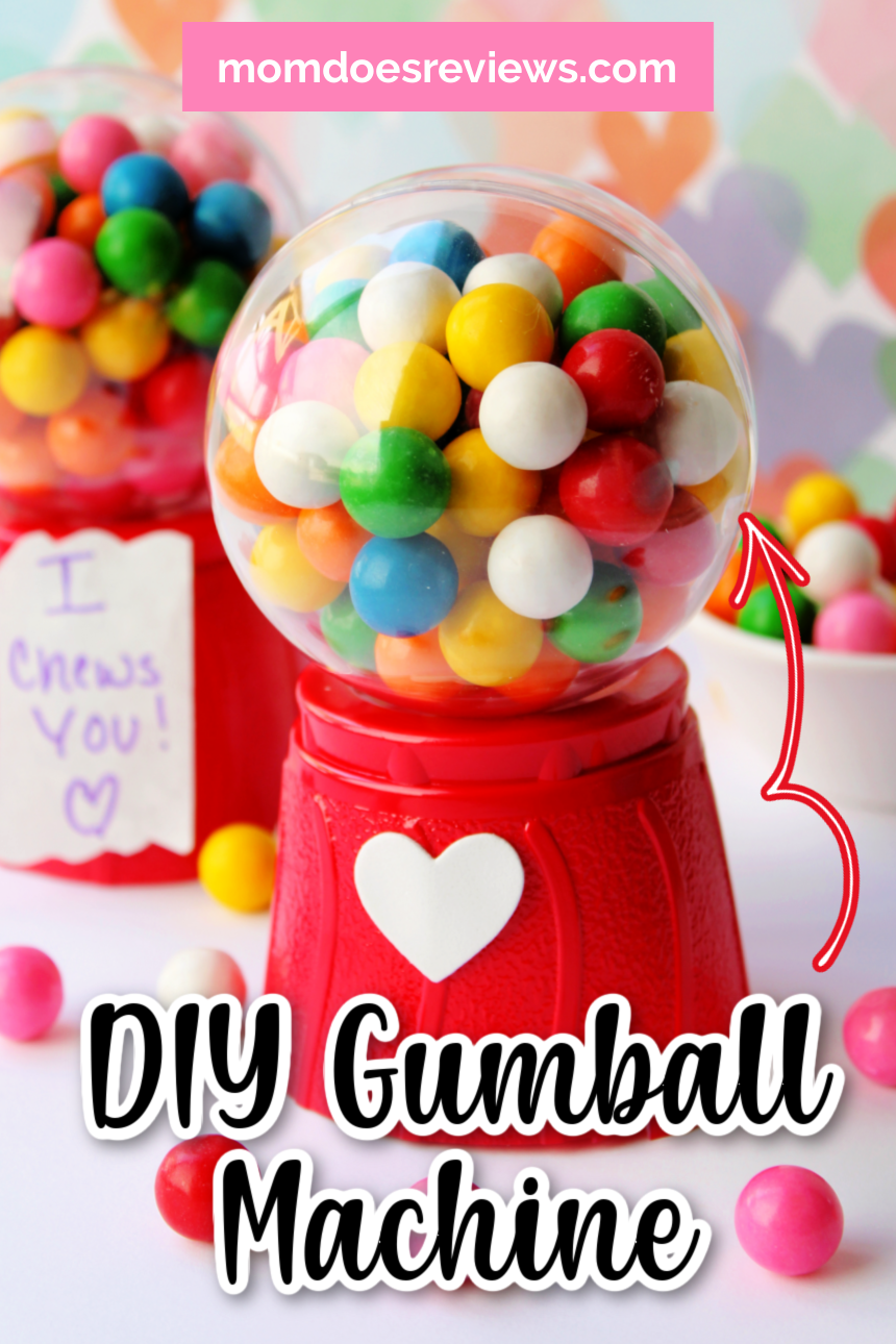 DIY Valentine's Day Mini Gum Ball Machine- You only need a few materials- perfect for spreading joy!