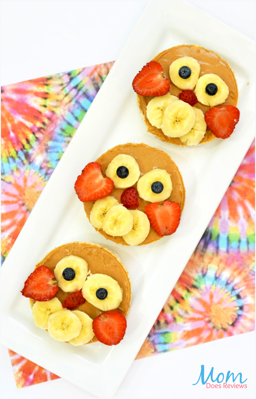 Fun and Easy Owl Rice Cakes- #funfood #owls #snacks