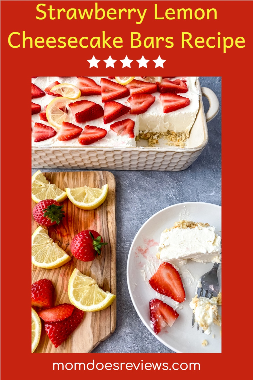 Strawberry Lemon Cheesecake Bars #Recipe #desserts #cheesecake #sweets