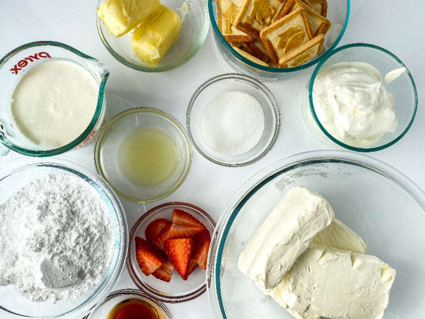 Strawberry Lemon Cheesecake Bars ingredients needed